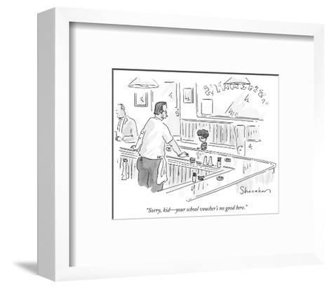 """Sorry, kid?your school voucher's no good here."" - New Yorker Cartoon-Danny Shanahan-Framed Art Print"