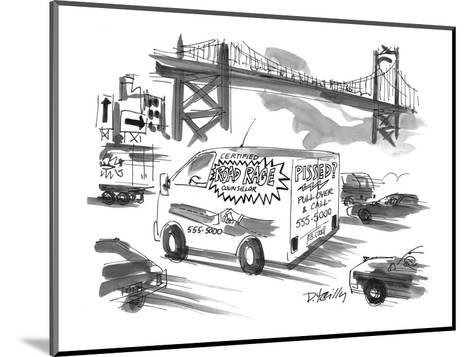 On a busy highway, a van advertises counselling for 'Road Rage' sufferers. - New Yorker Cartoon-Donald Reilly-Mounted Premium Giclee Print
