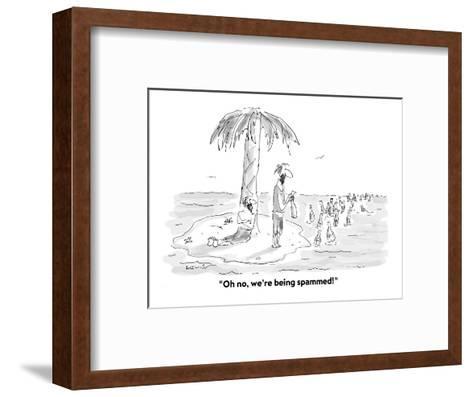 """Oh no, we're being spammed!"" - Cartoon-Arnie Levin-Framed Art Print"