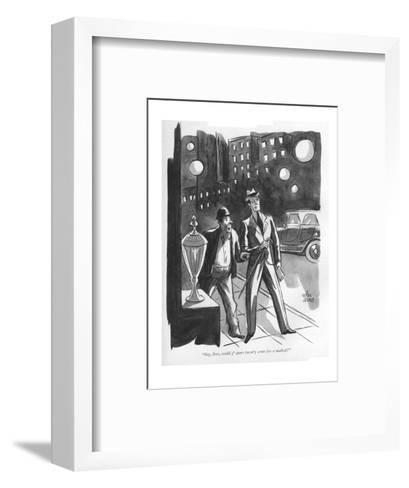 """""""Say, boss, could y' spare twen'y cents fer a malted?"""" - New Yorker Cartoon-Peter Arno-Framed Art Print"""