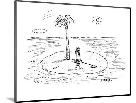 Castaway on Island with metal detector. - New Yorker Cartoon-David Sipress-Mounted Premium Giclee Print