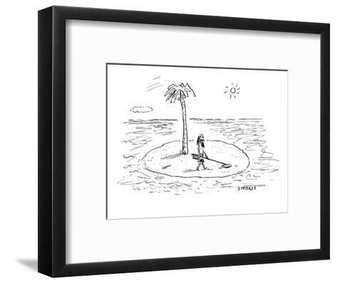 Castaway on Island with metal detector. - New Yorker Cartoon-David Sipress-Framed Art Print