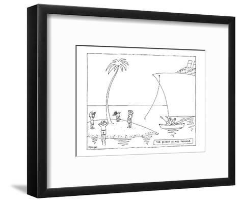 The Desert Island Package - New Yorker Cartoon-Jack Ziegler-Framed Art Print