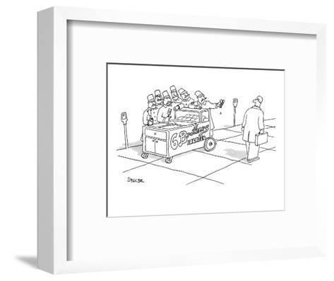 """A man walks past a falafel stand called """"6 Brothers Falafel"""" which is run ? - New Yorker Cartoon-Jack Ziegler-Framed Art Print"""