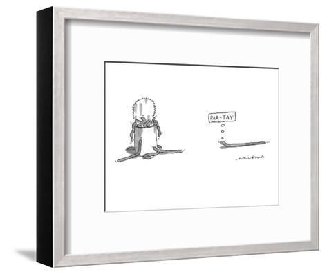 """A worm is approaching a can full of worms and  thinks to itself, """"Par-tay!"""" - New Yorker Cartoon-Michael Crawford-Framed Art Print"""
