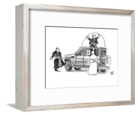 Pope shopping for new Popemobile. - New Yorker Cartoon-John Kane-Framed Art Print