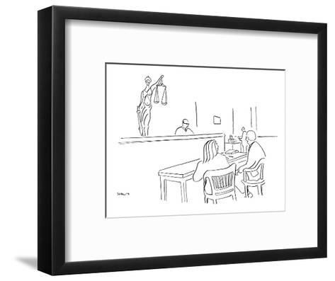 """I like to think that justice not only is blind but also has pouty lips."" - New Yorker Cartoon-Michael Shaw-Framed Art Print"