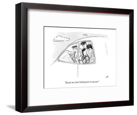 """""""Excuse me, but I think you're in my seat."""" - New Yorker Cartoon-Carolita Johnson-Framed Art Print"""