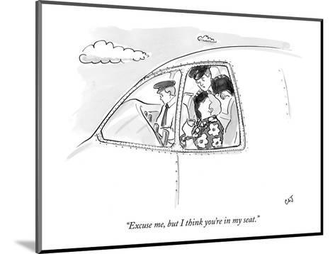"""""""Excuse me, but I think you're in my seat."""" - New Yorker Cartoon-Carolita Johnson-Mounted Premium Giclee Print"""