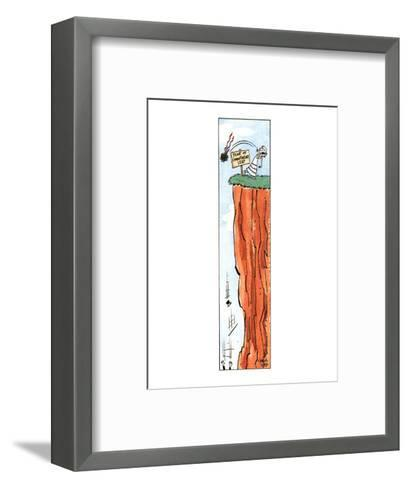 """Color strip showing a bride tossing her bouquet after her groom, who has j?"""" - New Yorker Cartoon-Carol Lay-Framed Art Print"""