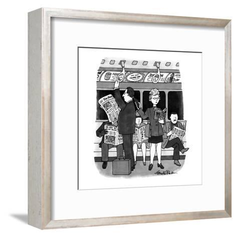 A woman holds a man's ponytail riding the subway as though it were one of ? - New Yorker Cartoon-J.B. Handelsman-Framed Art Print