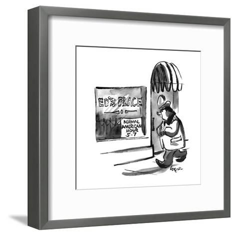 "A man passes a window that reads, ""Ed's Place, Normal American Hour 5-7"". - New Yorker Cartoon-Lee Lorenz-Framed Art Print"