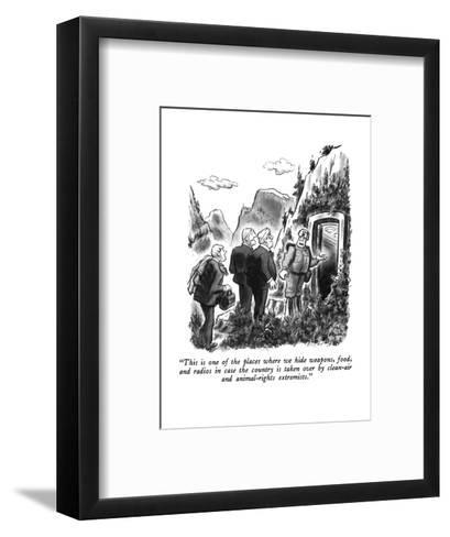 """This is one of the places where we hide weapons, food, and radios in case?"" - New Yorker Cartoon-Ed Fisher-Framed Art Print"