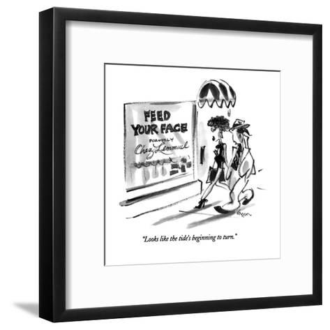 """Looks like the tide's beginning to turn."" - New Yorker Cartoon-Lee Lorenz-Framed Art Print"