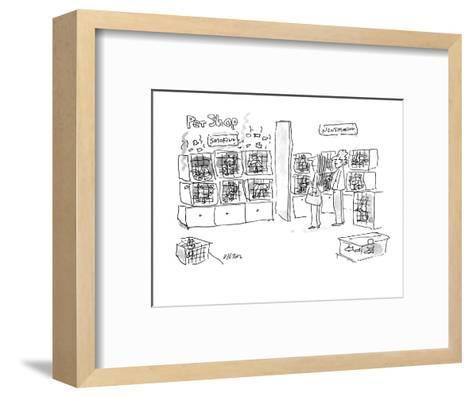 A smoking pets and a non-smoking pets section in a pet shop. - New Yorker Cartoon-Dean Vietor-Framed Art Print