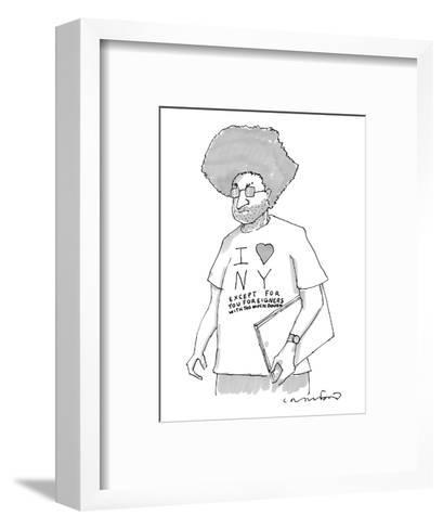 """A disgruntled man with large hair and stubble wears a shirt that says, """"I ?"""" - New Yorker Cartoon-Michael Crawford-Framed Art Print"""
