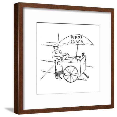Street food vendor with cart and umbrella which reads, '$19.93 LUNCH.' - New Yorker Cartoon-Stuart Leeds-Framed Art Print