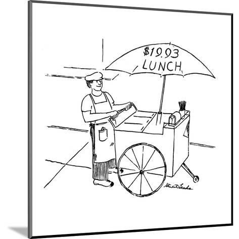Street food vendor with cart and umbrella which reads, '$19.93 LUNCH.' - New Yorker Cartoon-Stuart Leeds-Mounted Premium Giclee Print