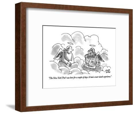 """""""The New York 'Post' was here for a couple of days. It had a near-death ex?"""" - New Yorker Cartoon-Joseph Farris-Framed Art Print"""