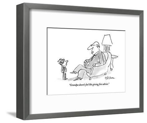 """Grandpa doesn't feel like giving free advice."" - New Yorker Cartoon-Dean Vietor-Framed Art Print"