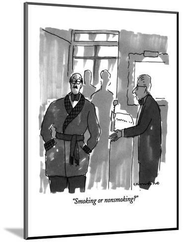 """""""Smoking or nonsmoking?"""" - New Yorker Cartoon-Michael Crawford-Mounted Premium Giclee Print"""