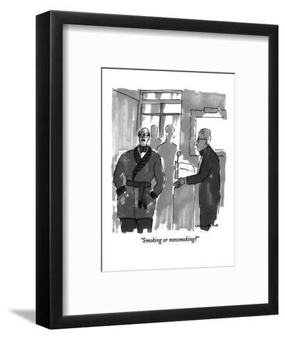 """Smoking or nonsmoking?"" - New Yorker Cartoon-Michael Crawford-Framed Art Print"