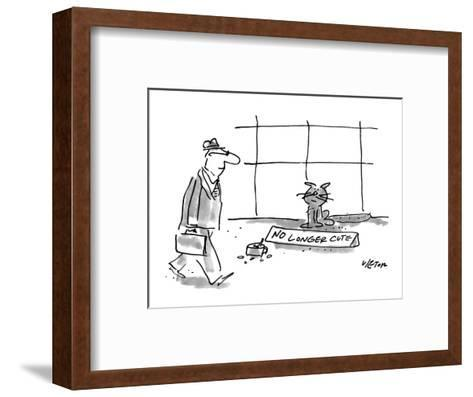 """Man walks past a cat who is panhandling with a tin cup full of change and ?"""" - New Yorker Cartoon-Dean Vietor-Framed Art Print"""