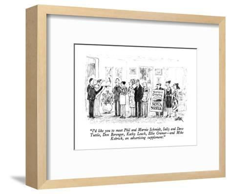 """I'd like you to meet Phil and Marnie Schmidt, Sally and Dave Tuttle, Don ?"" - New Yorker Cartoon-Robert Weber-Framed Art Print"