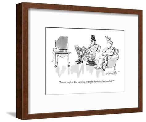 """I must confess, I'm starting to prefer basketball to baseball."" - New Yorker Cartoon-Mischa Richter-Framed Art Print"