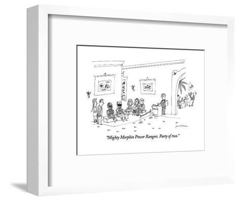 """""""Mighty Morphin Power Rangers.  Party of two."""" - New Yorker Cartoon-Michael Maslin-Framed Art Print"""