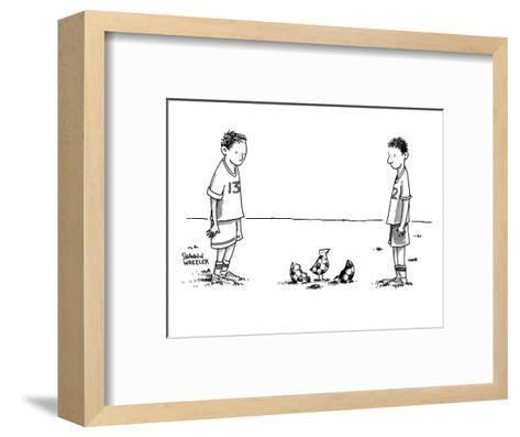 Two boys on a soccer team look down at the ground where a soccer ball patt? - New Yorker Cartoon-Shannon Wheeler-Framed Art Print