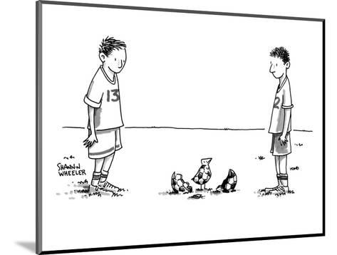 Two boys on a soccer team look down at the ground where a soccer ball patt? - New Yorker Cartoon-Shannon Wheeler-Mounted Premium Giclee Print