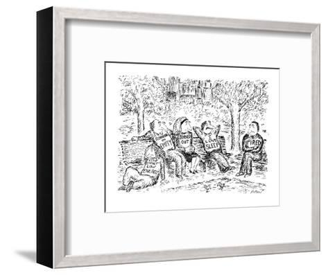 """Five people sitting, lethargically, in a park. All have T-shirts on with s?"""" - New Yorker Cartoon-Edward Koren-Framed Art Print"""