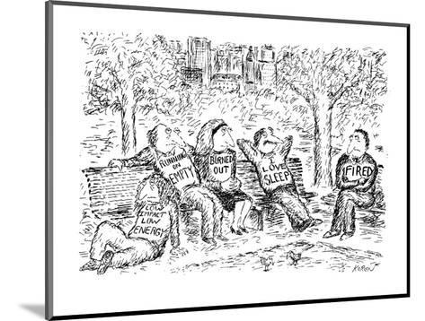 """Five people sitting, lethargically, in a park. All have T-shirts on with s?"""" - New Yorker Cartoon-Edward Koren-Mounted Premium Giclee Print"""