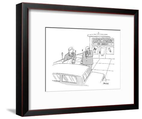 Two executives eat ice cream outside an ice cream shop.  - New Yorker Cartoon-Jack Ziegler-Framed Art Print