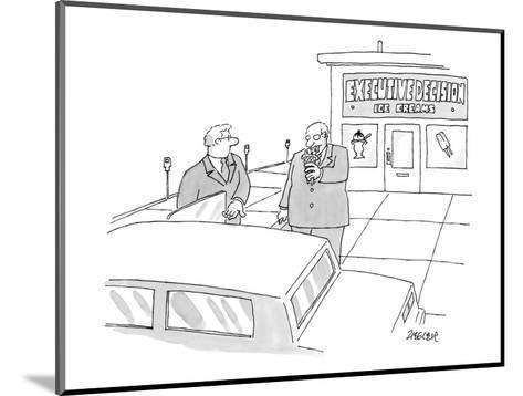 Two executives eat ice cream outside an ice cream shop.  - New Yorker Cartoon-Jack Ziegler-Mounted Premium Giclee Print