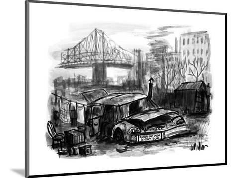A junked car used as a house for a homeless person has a bumper sticker on? - New Yorker Cartoon-Warren Miller-Mounted Premium Giclee Print
