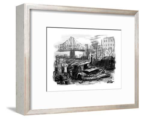 A junked car used as a house for a homeless person has a bumper sticker on? - New Yorker Cartoon-Warren Miller-Framed Art Print