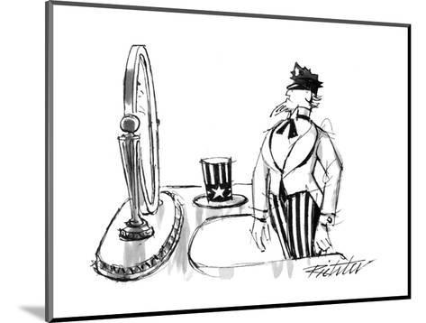Uncle Sam modeling a policeman's cap in front of a mirror. - New Yorker Cartoon-Mischa Richter-Mounted Premium Giclee Print