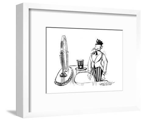 Uncle Sam modeling a policeman's cap in front of a mirror. - New Yorker Cartoon-Mischa Richter-Framed Art Print