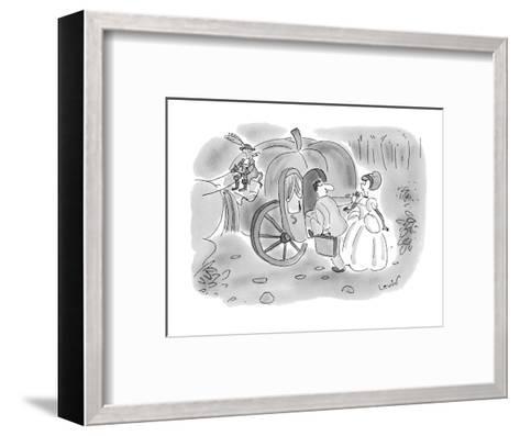 Arrogant businessman pushes aside Cinderella and climbs into her pumpkin c? - New Yorker Cartoon-Arnie Levin-Framed Art Print
