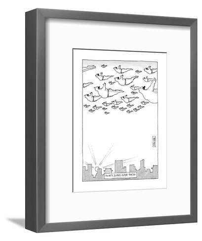 Thirty Sumos Over Tokyo - New Yorker Cartoon-Jack Ziegler-Framed Art Print