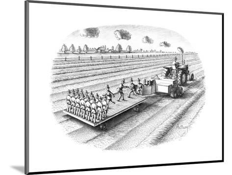 Tactor turning out replicas of the farmer/scarecrow. - New Yorker Cartoon-Anthony Taber-Mounted Premium Giclee Print