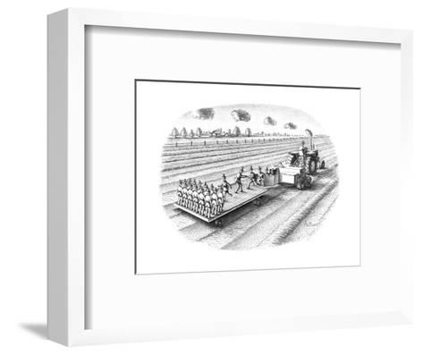 Tactor turning out replicas of the farmer/scarecrow. - New Yorker Cartoon-Anthony Taber-Framed Art Print