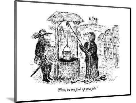 """""""First, let me pull up your file."""" - New Yorker Cartoon-Edward Koren-Mounted Premium Giclee Print"""