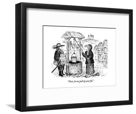 """First, let me pull up your file."" - New Yorker Cartoon-Edward Koren-Framed Art Print"