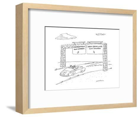 """Two road signs, one saying """"Manhattan Clam Chowder"""" the other """"New England? - New Yorker Cartoon-Michael Maslin-Framed Art Print"""