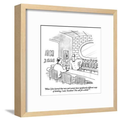 """When I first learned that men and women have significantly different ways?"" - New Yorker Cartoon-Jack Ziegler-Framed Art Print"