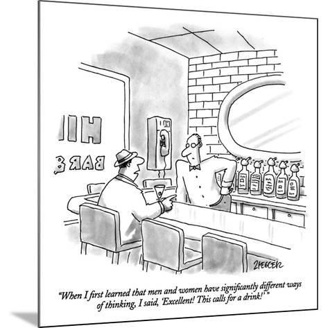 """When I first learned that men and women have significantly different ways?"" - New Yorker Cartoon-Jack Ziegler-Mounted Premium Giclee Print"