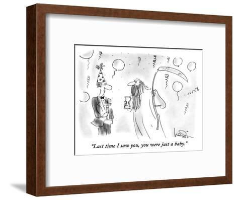 """""""Last time I saw you, you were just a baby."""" - New Yorker Cartoon-Arnie Levin-Framed Art Print"""